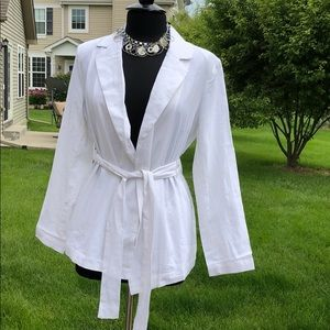 Who What Wear White Linen Belt Tie Blazer M NWT